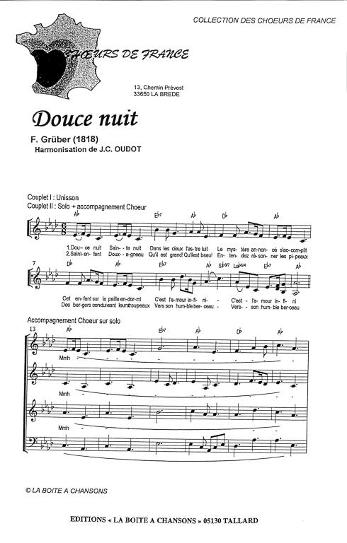 Partition De Musique, Éditeur De Partitions Pour Chorale à Paroles Et Accords De Douce Nuit