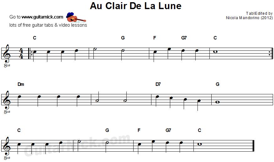 Partition Guitare Au Claire De La Lune tout Au Clair De La Lune Paroles