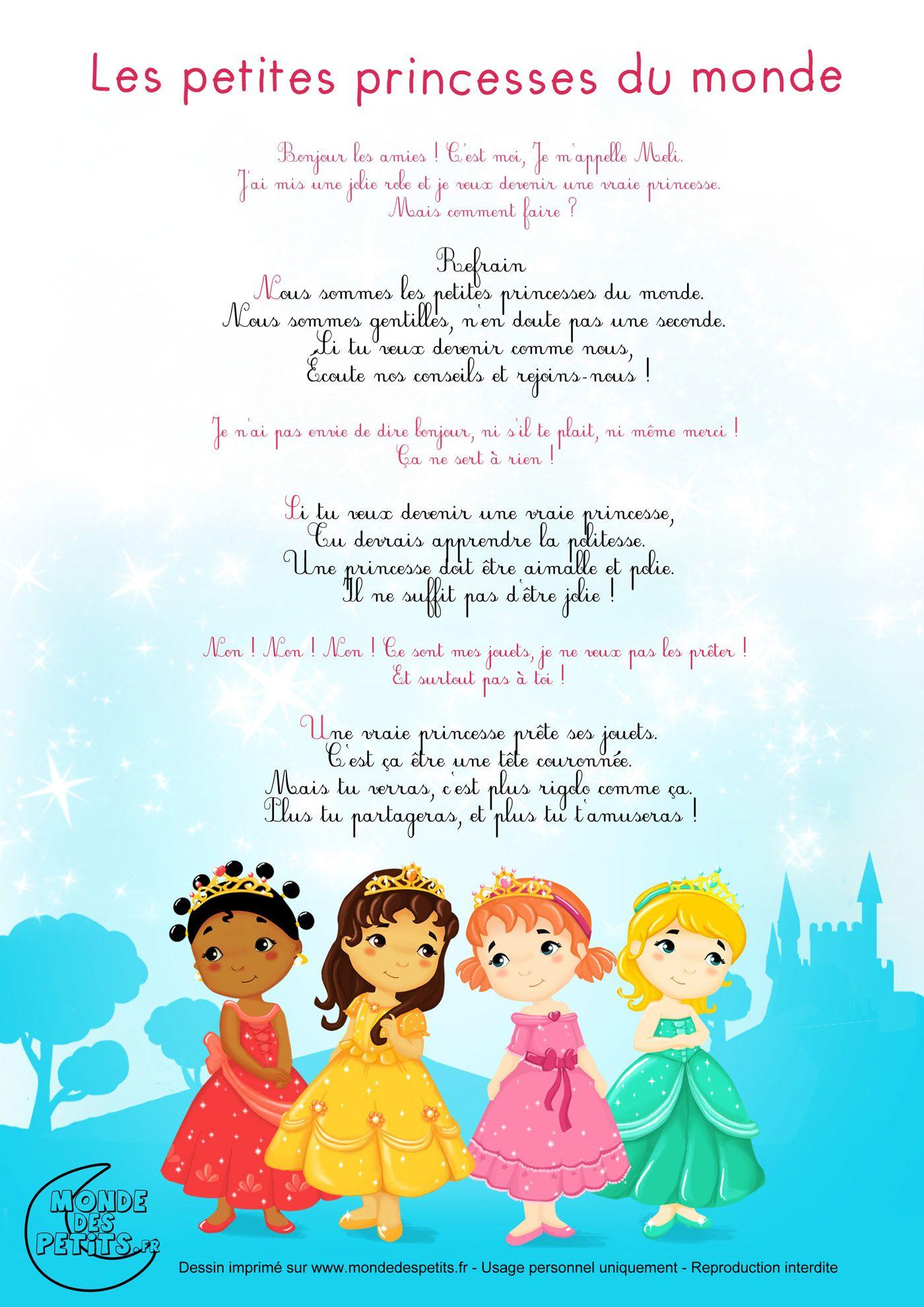 Partition_Les Petites Princesses Du Monde, Chanson Pour avec Les Chanson De Bebe