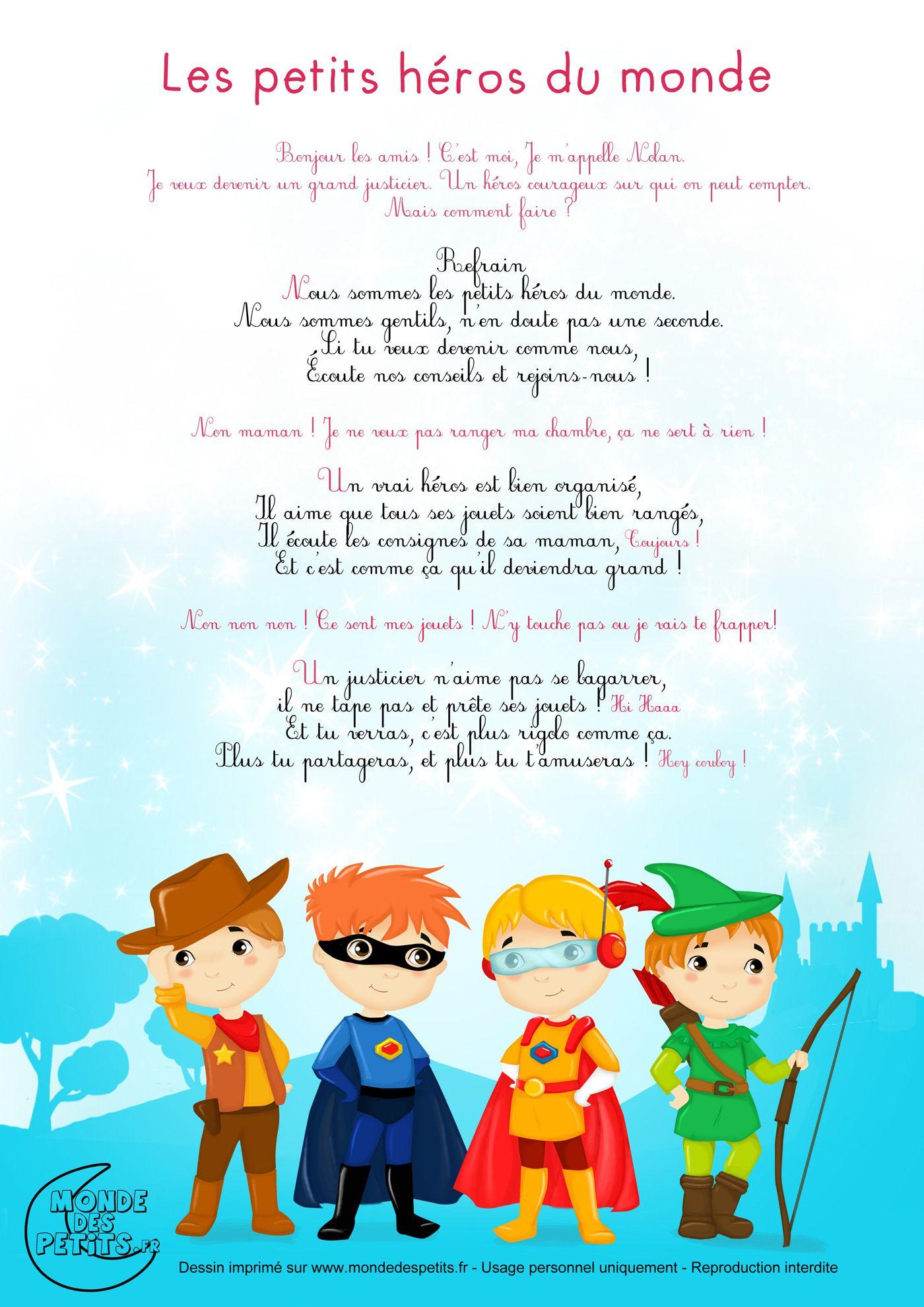 Partition_Les Petits Héros Du Monde | Comptines, Chansons à Contine Pour Les Petit
