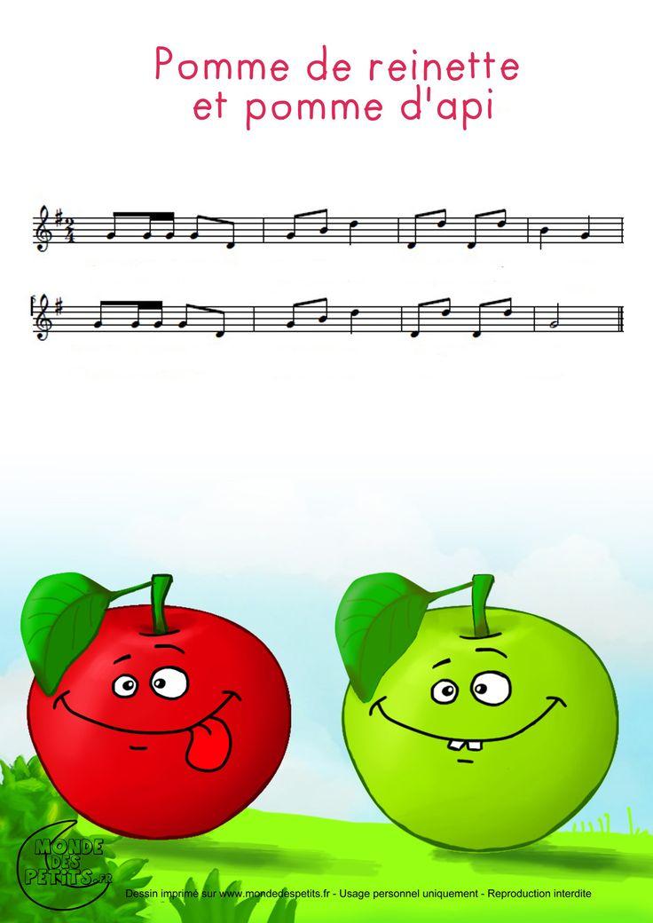 Partition_Pomme De Reinette Et Pomme D'Api (Avec Images encequiconcerne Pomme D Api Chanson