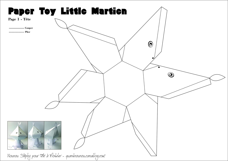Patron Du Paper Toy Martien 2/2 encequiconcerne Patron+Maison+Papier+A+Imprimer