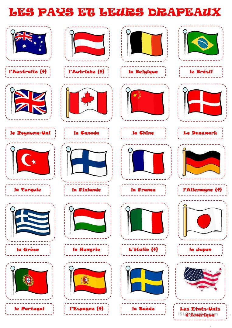 Pays Et Drapeaux 1 Fiche D'Exercices - Fiches Pédagogiques pour Drapeaux Du Monde À Imprimer