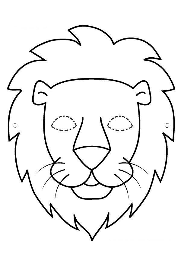 Pdf Masque Lion Noir Et Blanc   Masque Lion, Tete De Lion pour Masque Enfant A Imprimer