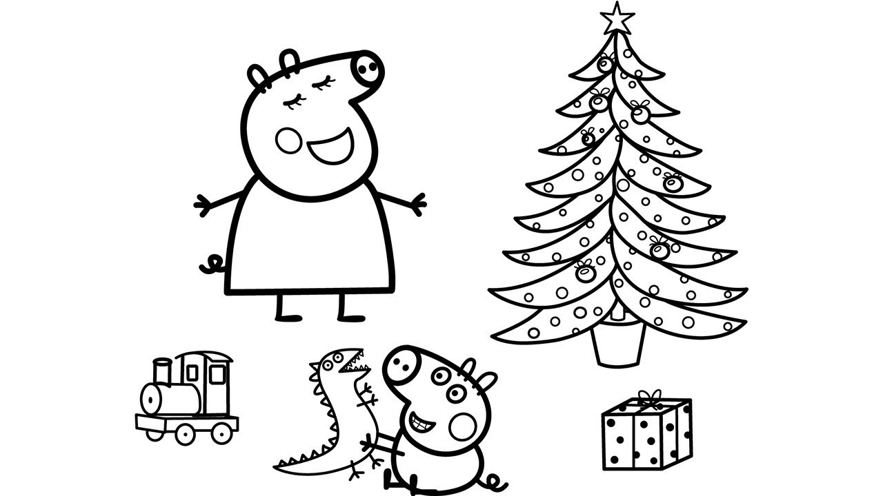 Peppa Pig Christmas Coloring Pages Peppa Pig And George pour Coloriage Peppa Pig