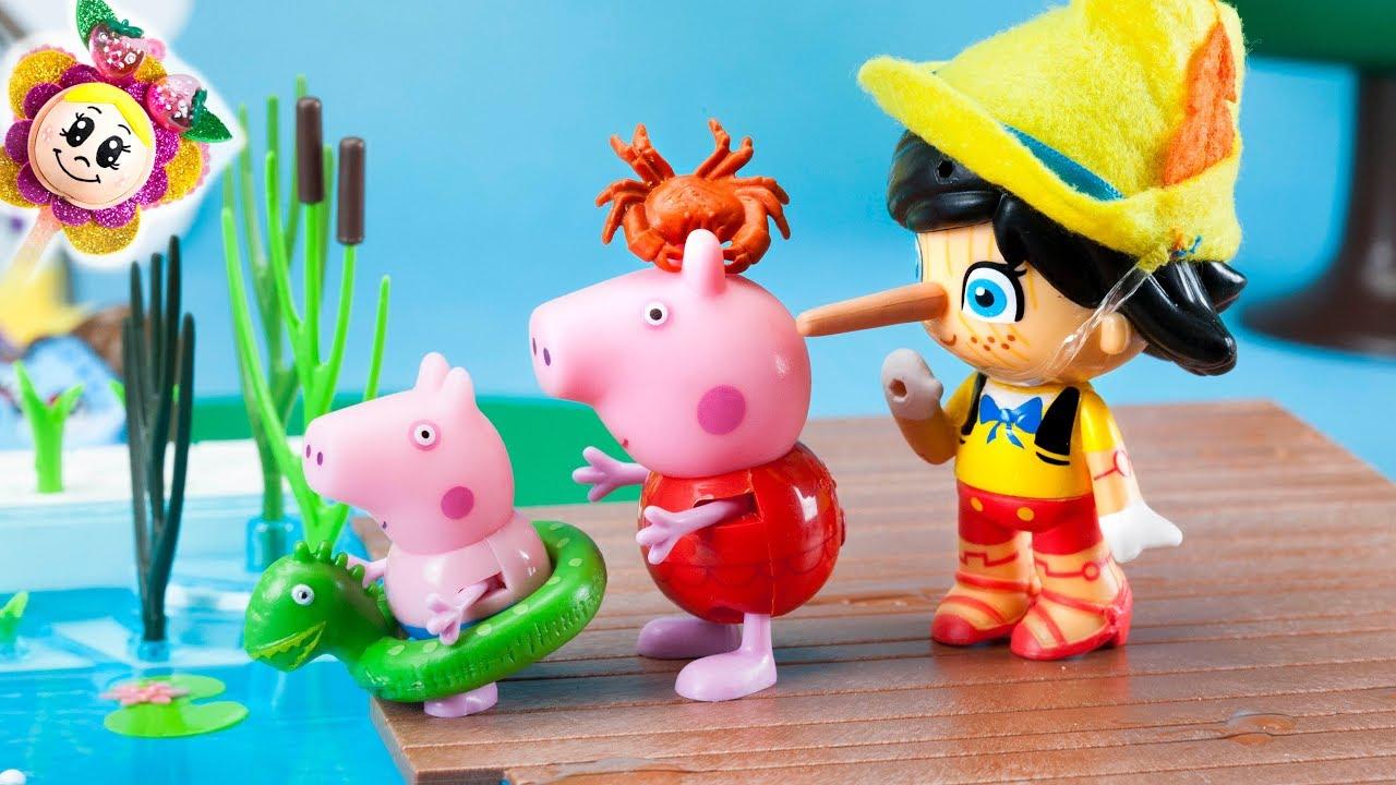 Peppa Pig Et George: Mais Que Fait Pinocchio À La Piscine encequiconcerne Jeux De Peppa Pig A La Piscine