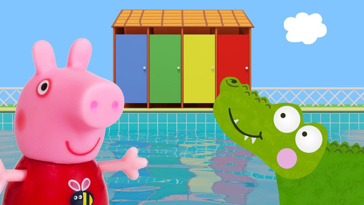 Peppa Pig Game | Crocodile Hiding In Peppa Pig Toys à Peppa Pig A La Piscine