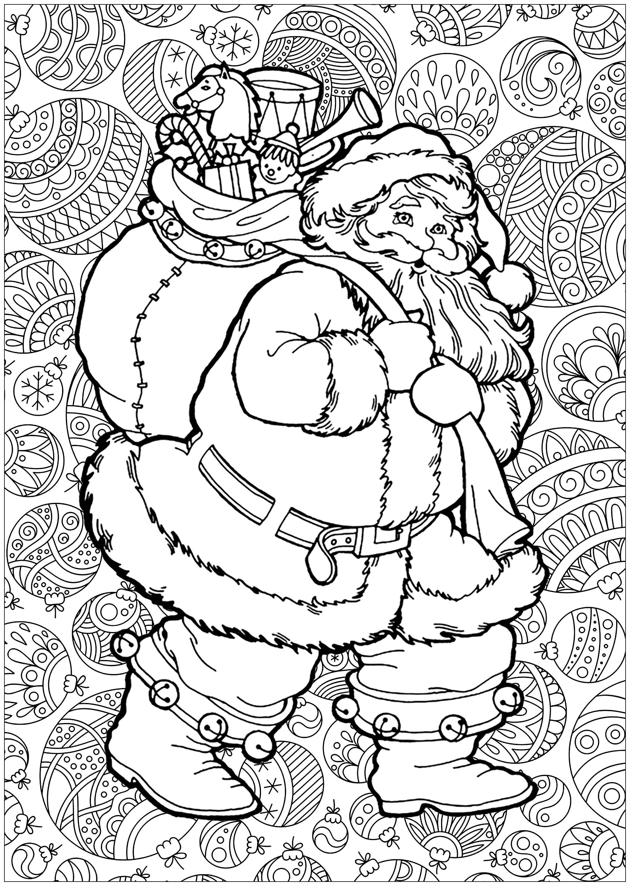 Pere Noel Avec Fond - Noël - Coloriages Difficiles Pour dedans Coloriage Noe
