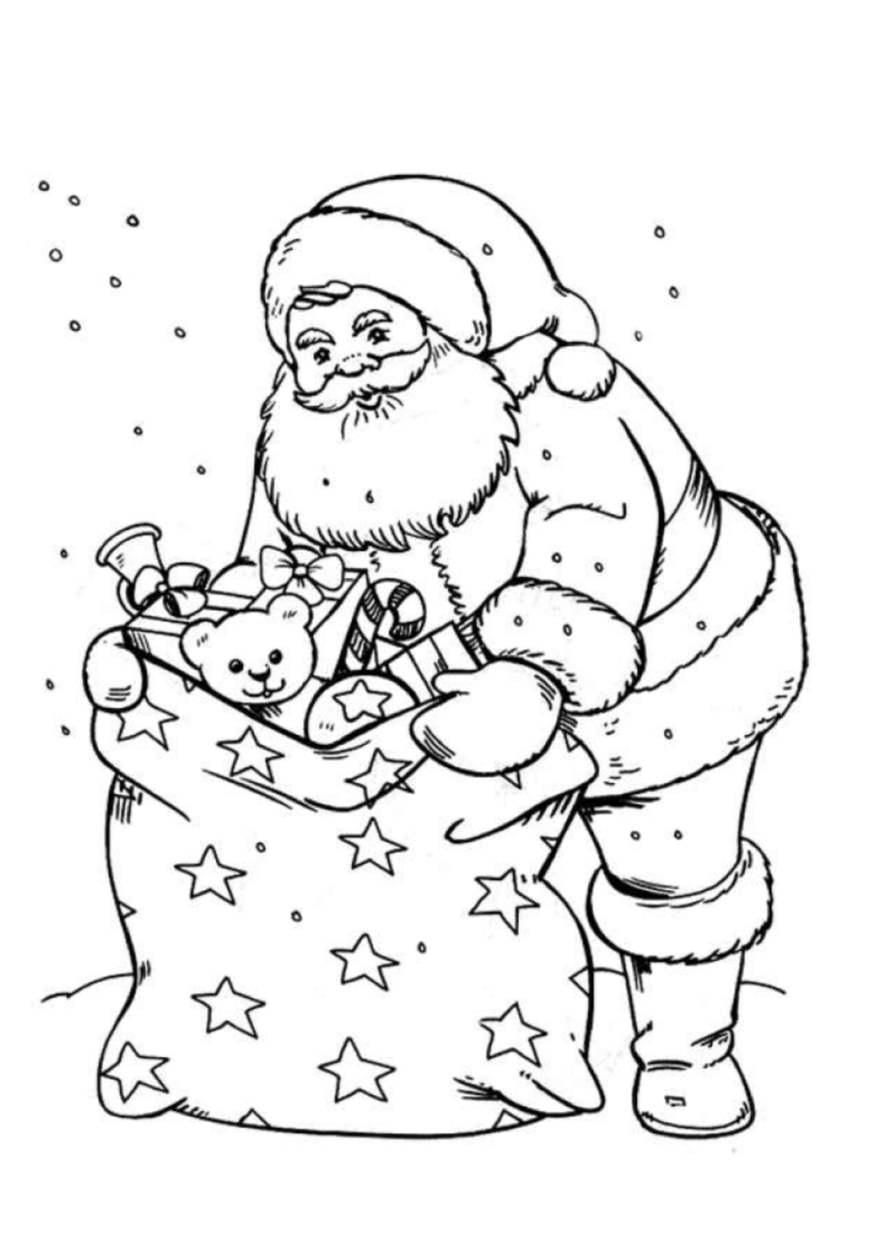 Père Noël Et Sa Hotte - Coloriage Père Noël - Coloriages encequiconcerne Coloriage Noe