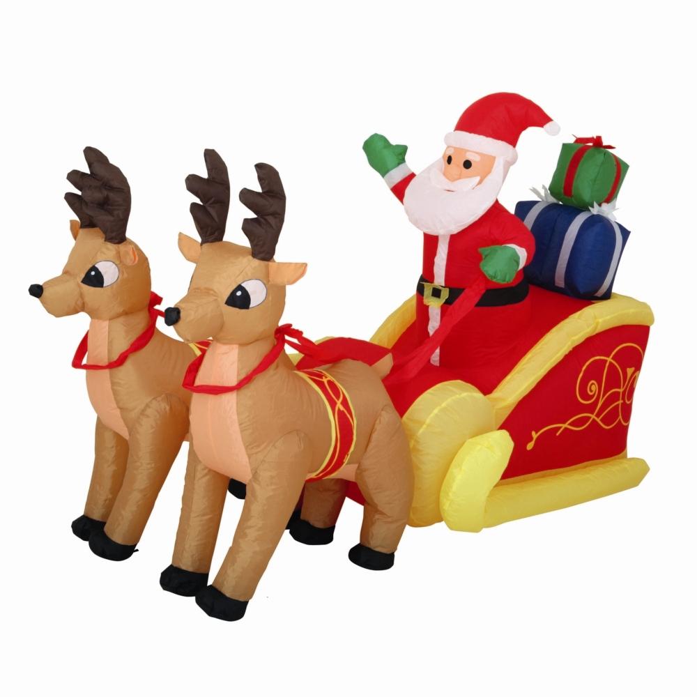 Père Noël Et Son Traîneau Gonflable - Extérieur à Traineaux Du Pere Noel