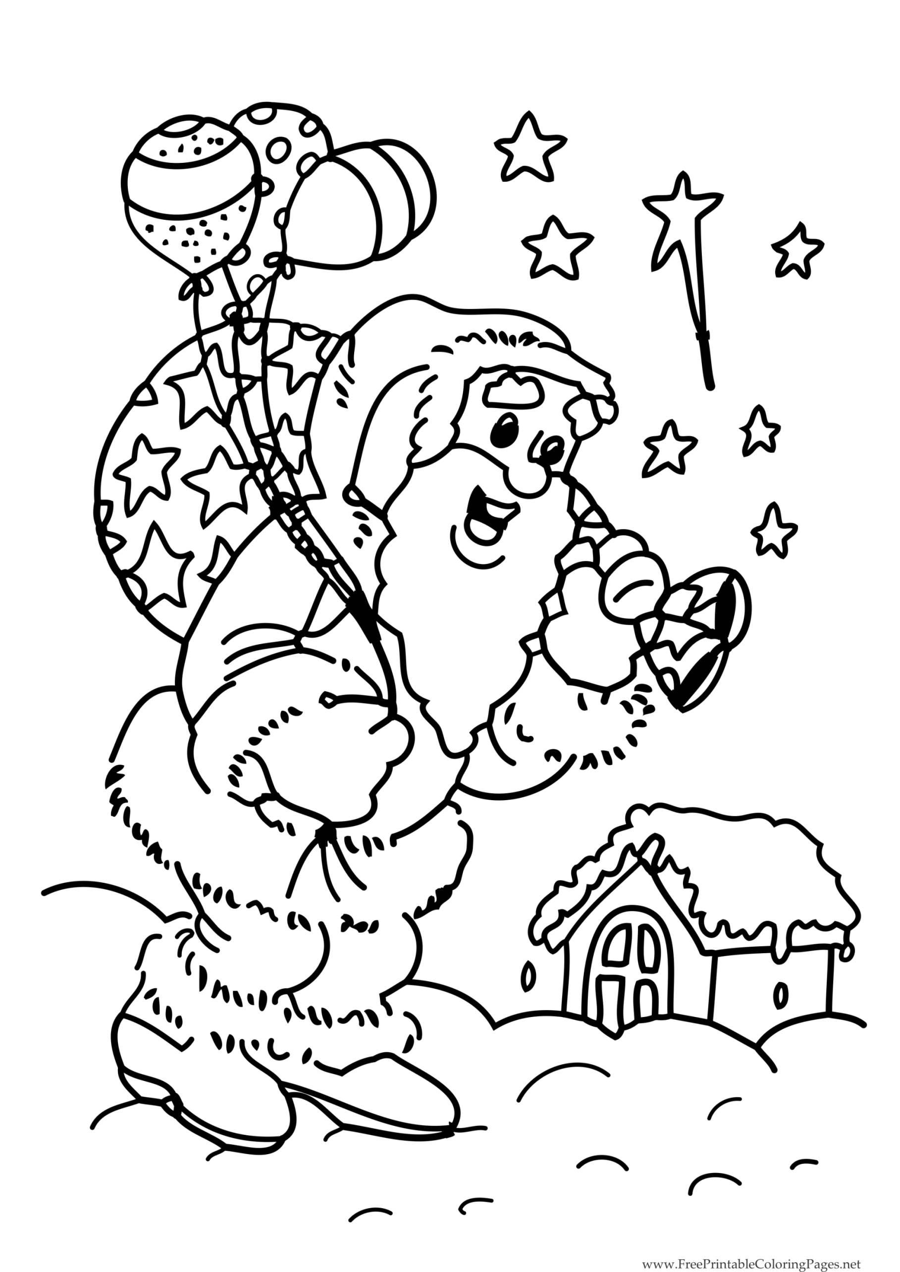 Père Noël Prêt Pour La Distribution Annuelle - Coloriage destiné Dessin Creche De Noel Gratuit