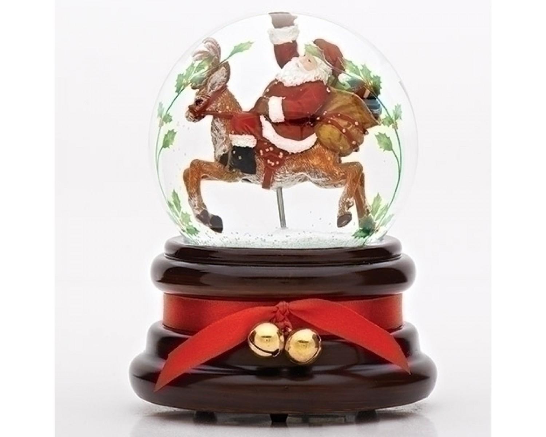 Père Noël Sur Son Renne Boule À Neige Musicale - Boutique encequiconcerne Nom Renne Pere Noel