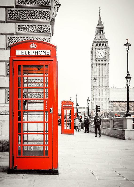 Photograph Print London Red Phone Booth Landscape encequiconcerne Photo Anglaise A Imprimer