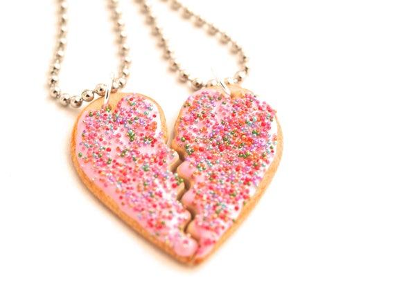 Pink Sugar Cookie Best Friend Necklaces Bff Friendship intérieur Dessin D Amitié