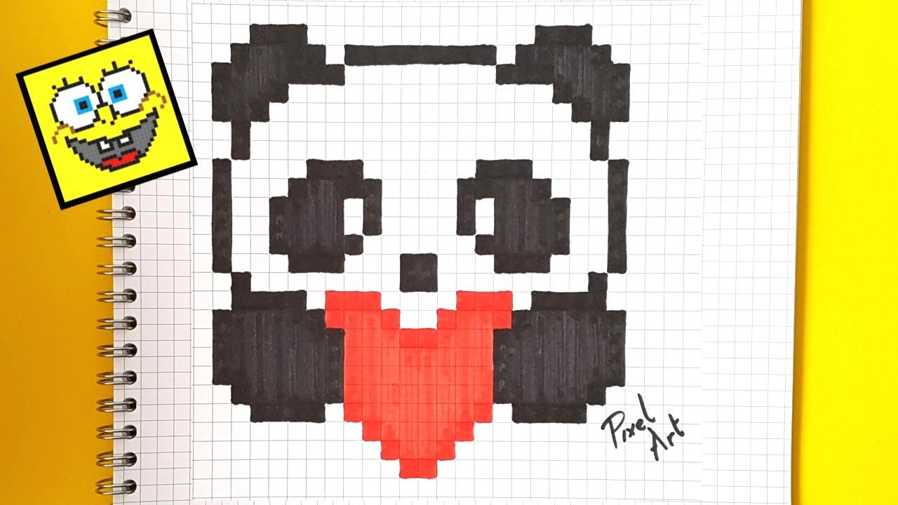 Pixel Art Comment Dessiner Un Panda Kawaii Pas A Pas concernant Modele Pixel Art A Imprimer