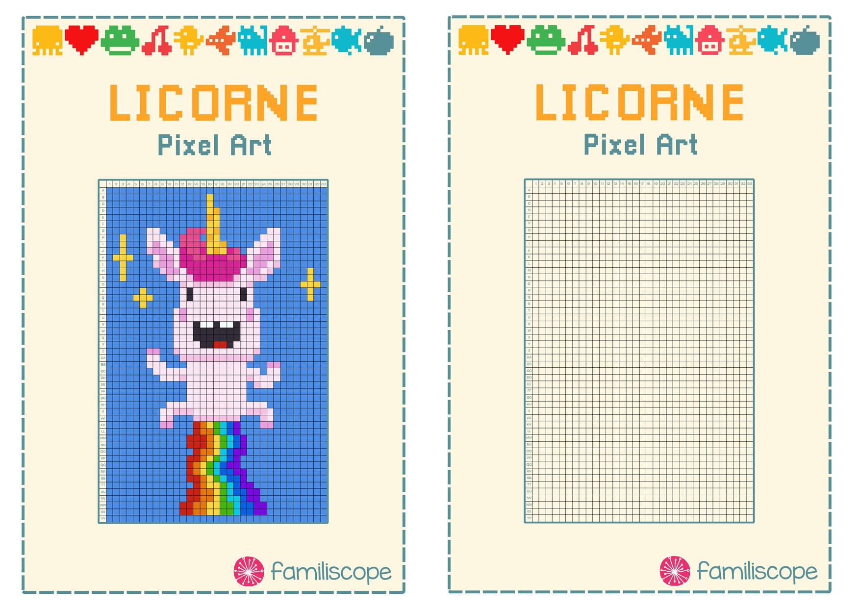Pixel Art Licorne Arc-En-Ciel avec Modele Pixel Art A Imprimer