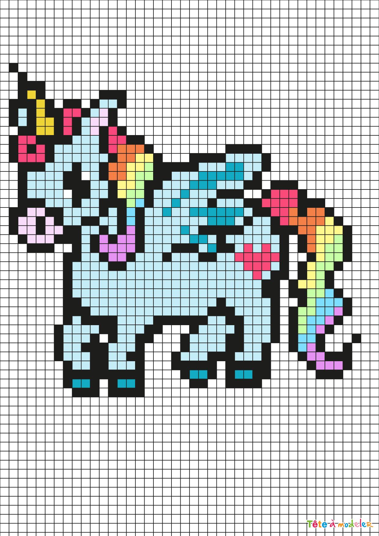 Pixel Art Licorne Par Tête À Modeler tout Modele Pixel Art A Imprimer
