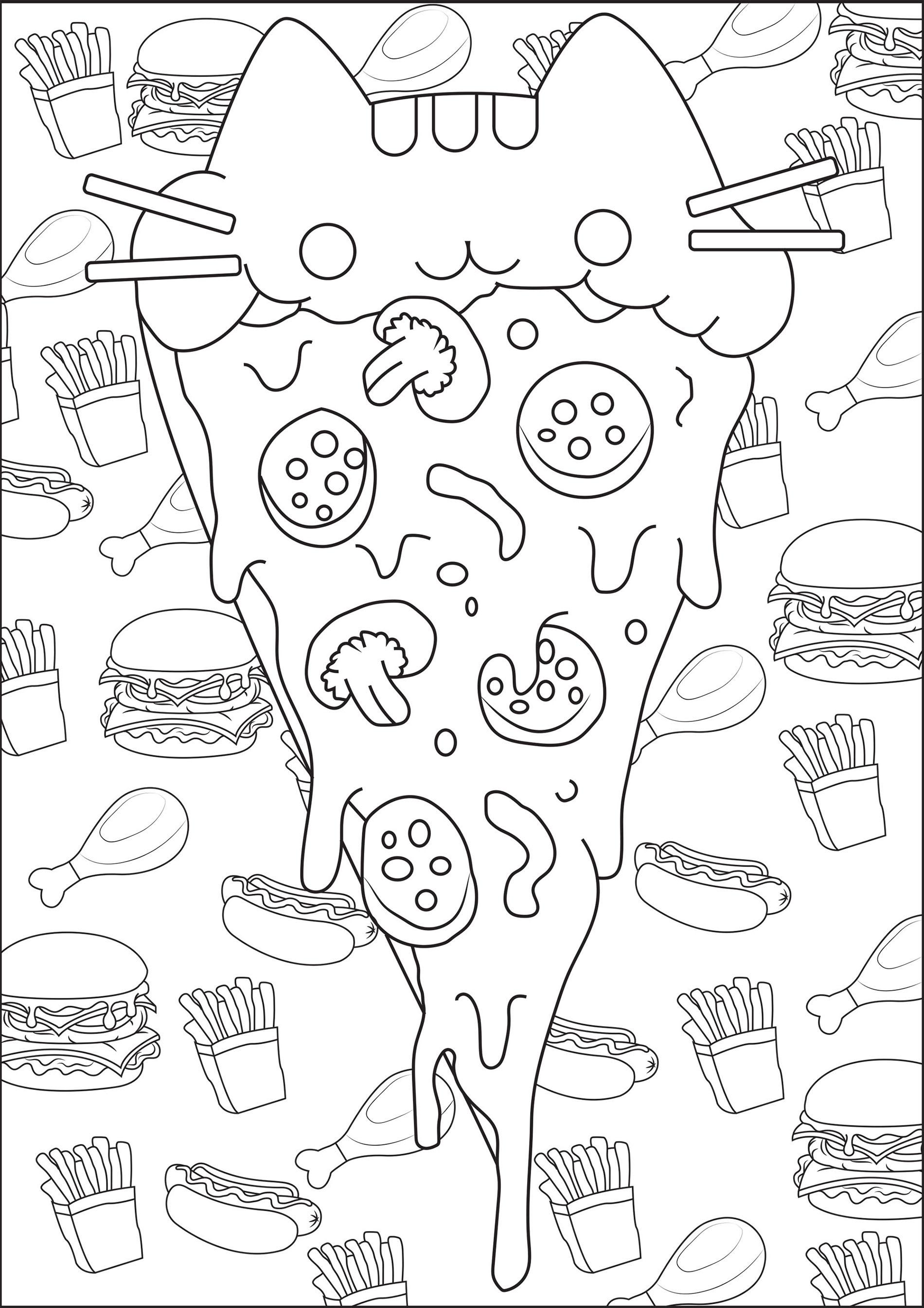 Pizza Pusheen - Coloriage Pusheen - Coloriages Pour Enfants pour Coloriage