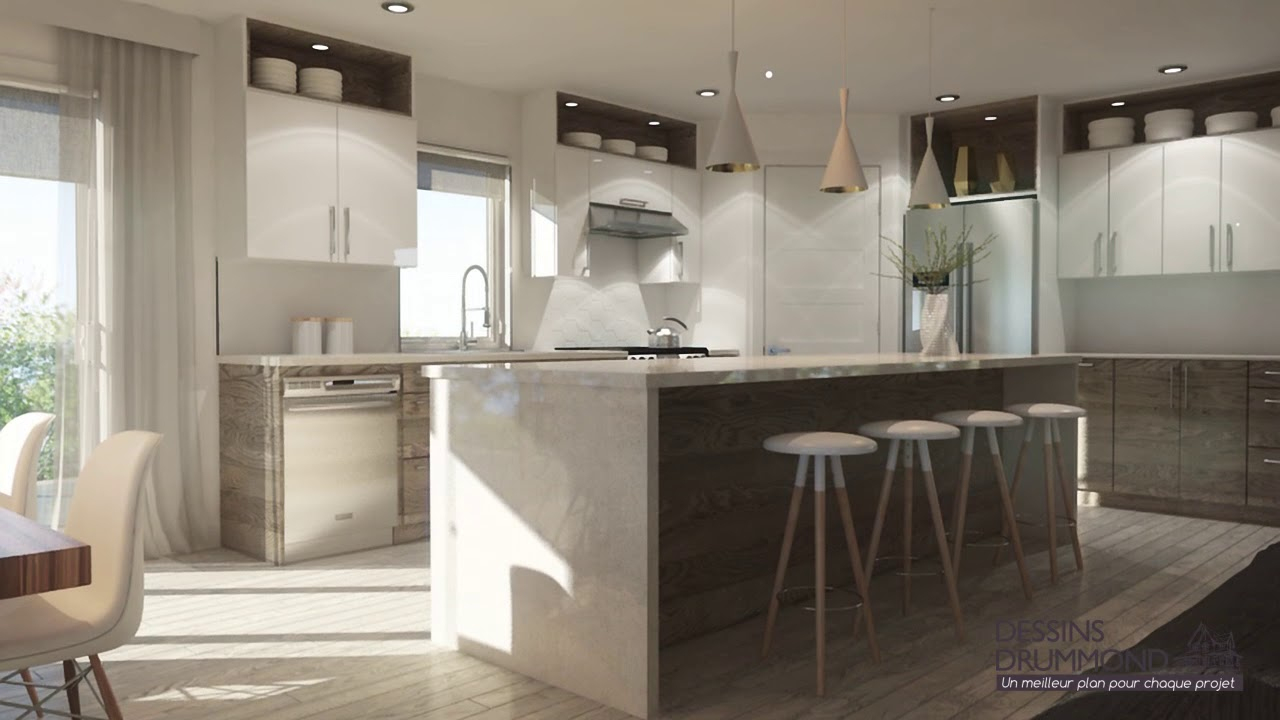 Plan De Maison Moderne À Étage Avec Garage De Dessins concernant Dessin De Maison Moderne