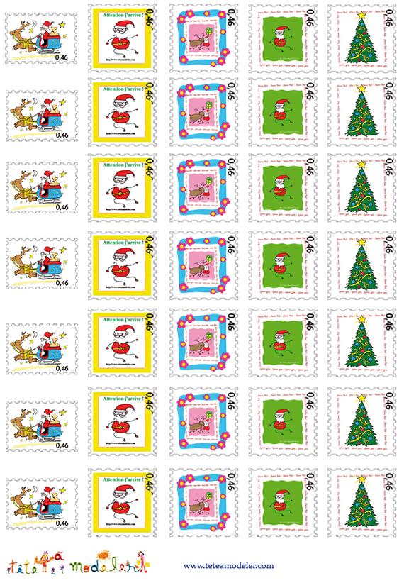 Planche De Faux Timbres Pere Noel A Imprimer - Noel Tete A destiné Images De Noel À Imprimer Gratuitement