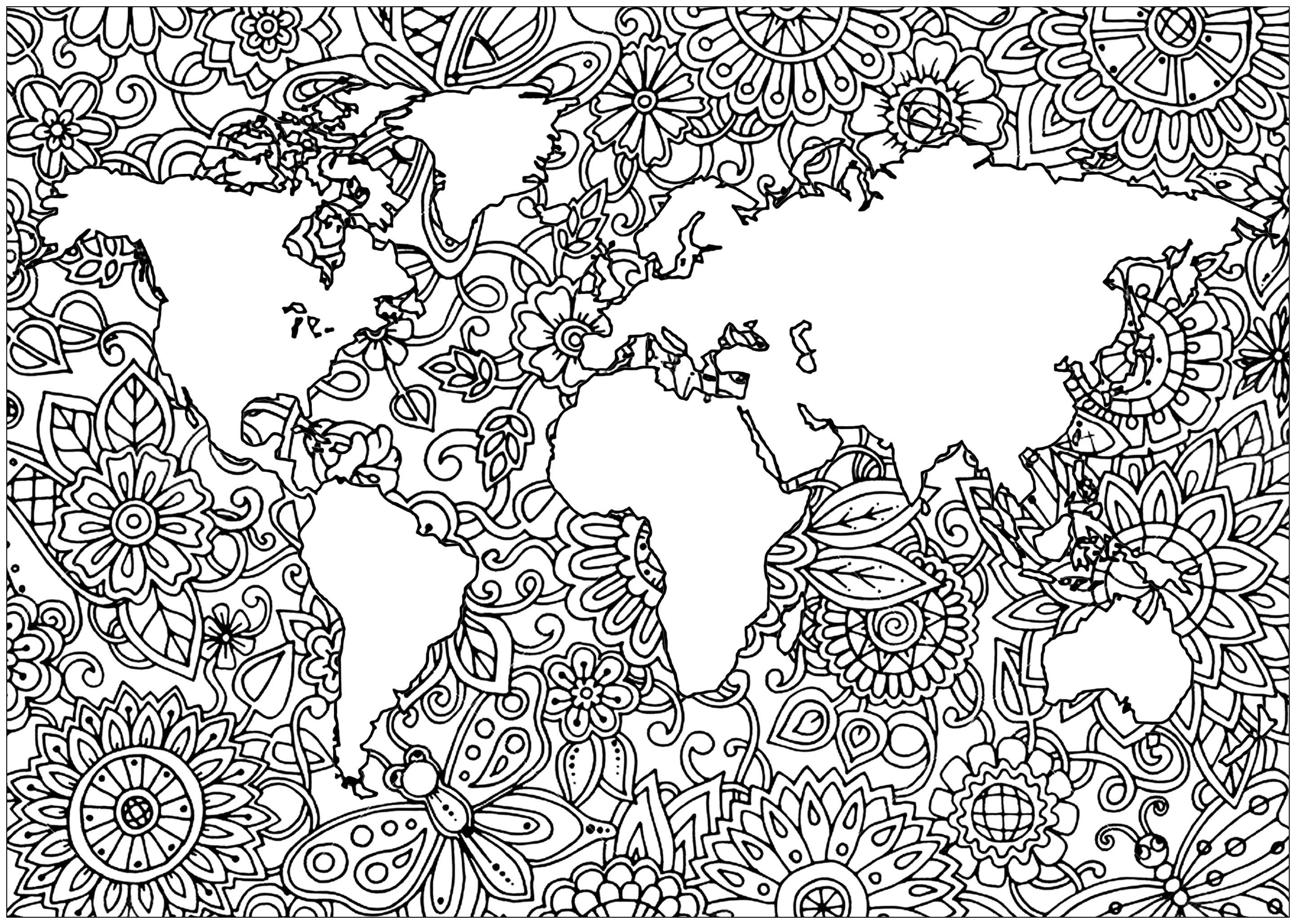 Planète Terre Et Fleurs 1 - Anti-Stress & Art-Thérapie tout Coloriage Anti Stress Adulte