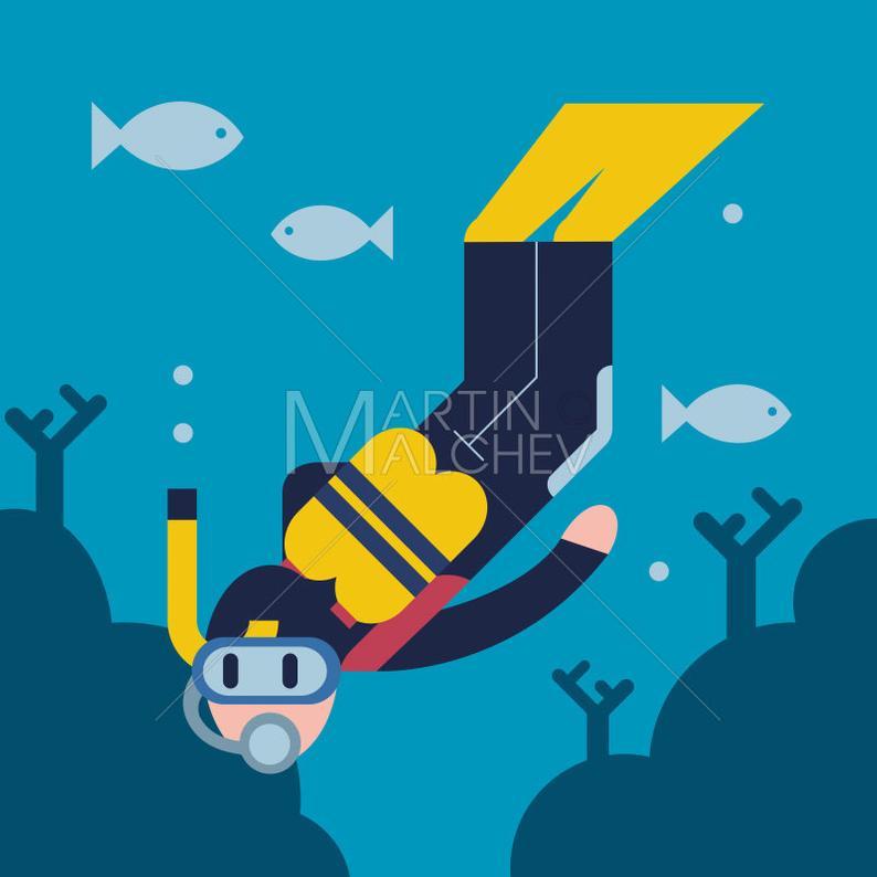 Plongée Vector Illustration De Dessin Animé. Plongeur | Etsy tout Dessin De Plongeur
