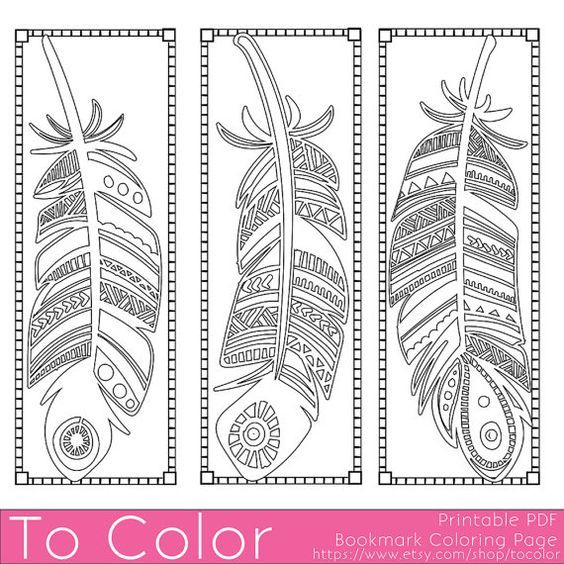 Plumes Imprimables Coloriage Page Signets Pour Adultes pour Coloriage Numérique
