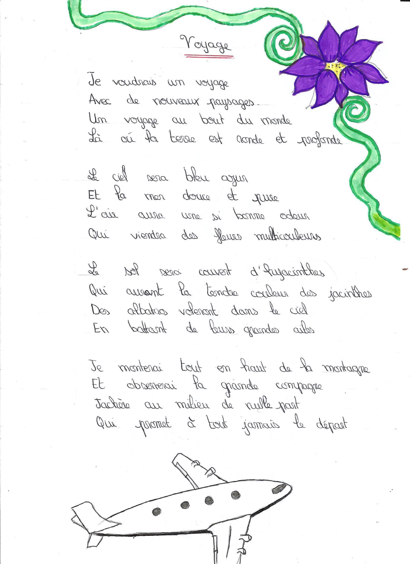 Poeme 5E à Vacances Poesie