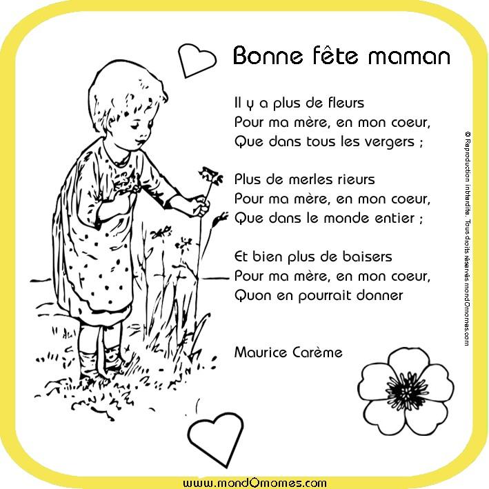 Poeme Et Dessin Fete Des Meres destiné Fete Des Meres Dessin