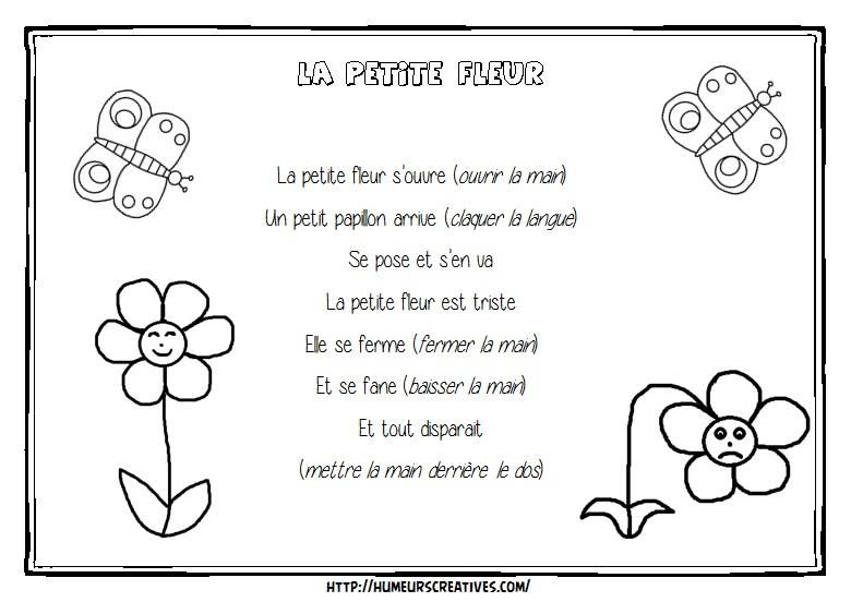 Poesie Bonjour Petite Fleur intérieur Comptine Papillon