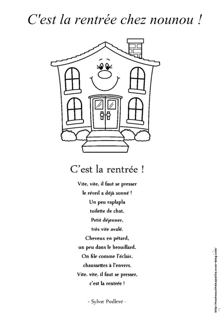 Poesie Ca Y Est C'Est La Rentree destiné Chant Rentr?E Grande Section