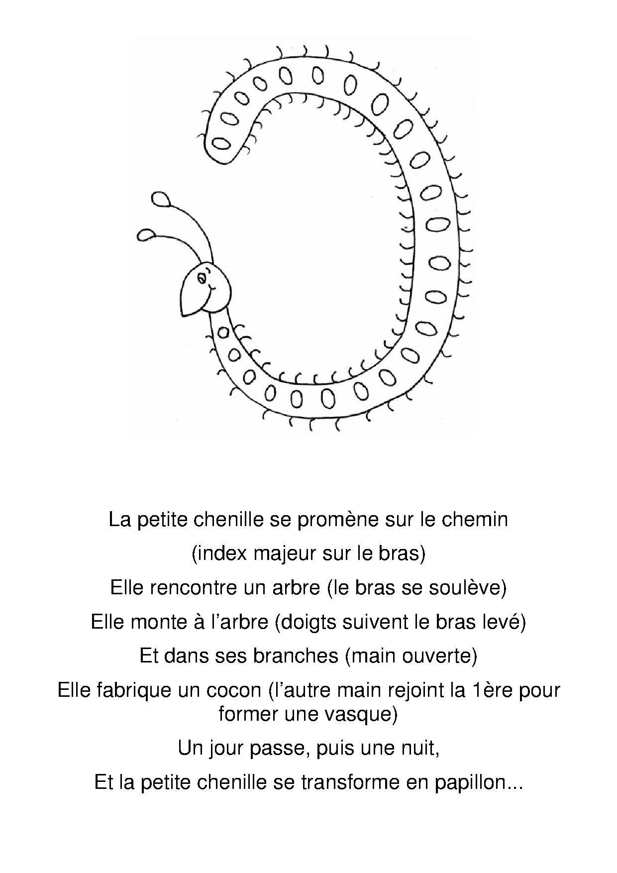 Poésie Chenille Maternelle - Recherche Google | Chenille tout Chanson De La Petite Patate