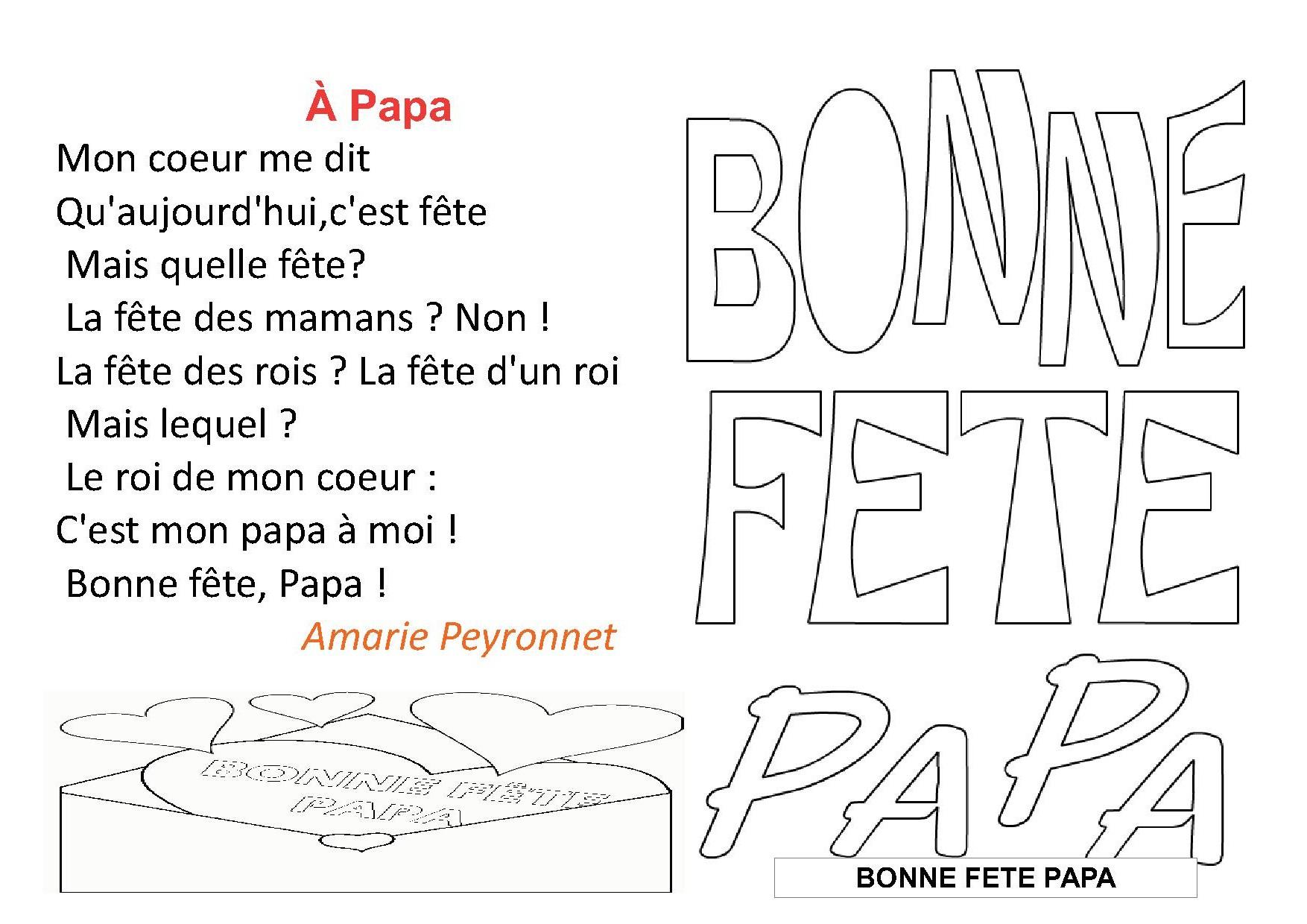 Poesie Fete Des Peres concernant Poeme Pour Papa