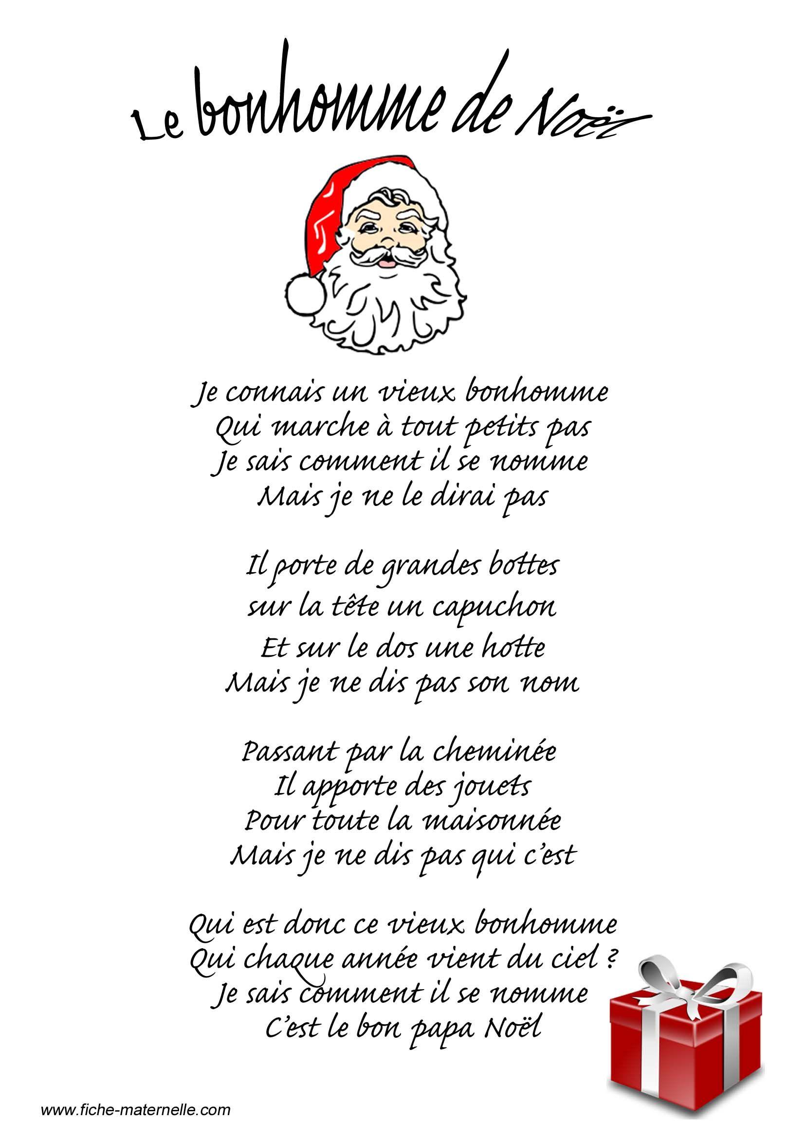 Poésie Le Bonhomme De Noël … | Poeme Noel, Comptines De pour Vive Les Vacances Poeme Pour Enfant