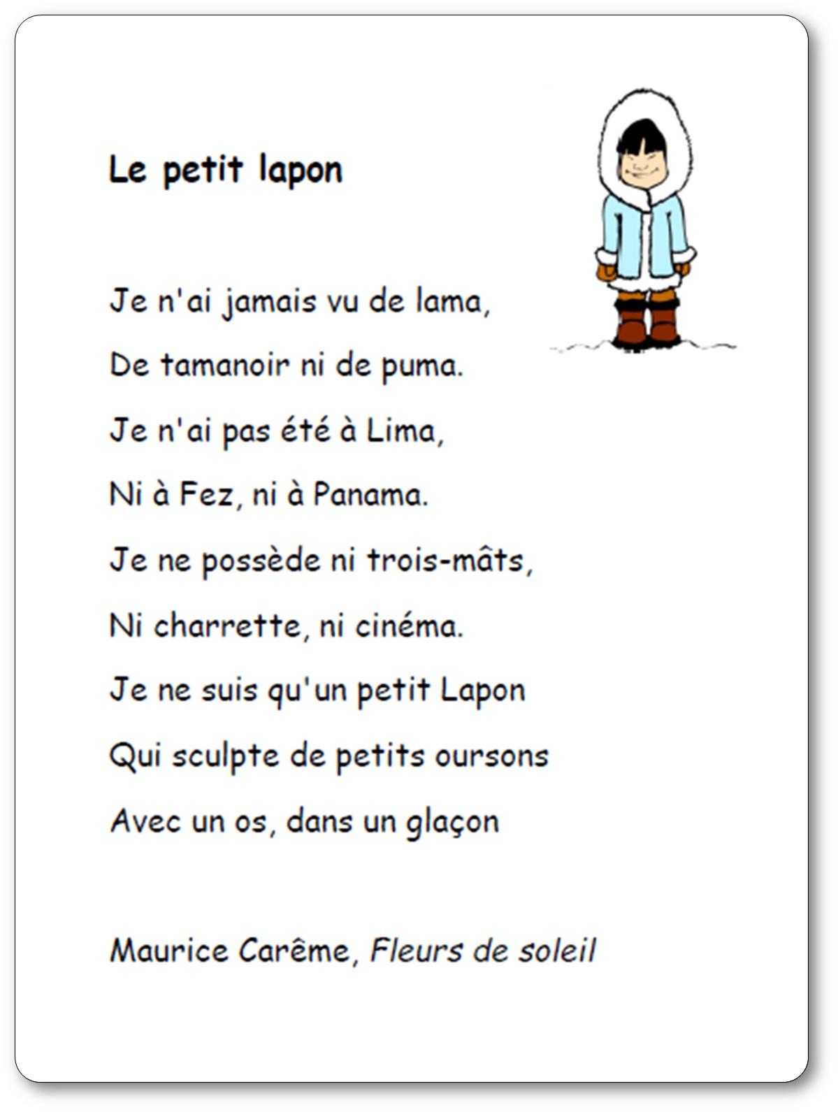 Poésie Le Petit Lapon De Maurice Carême - Le Petit Lapon à Vacances Poesie