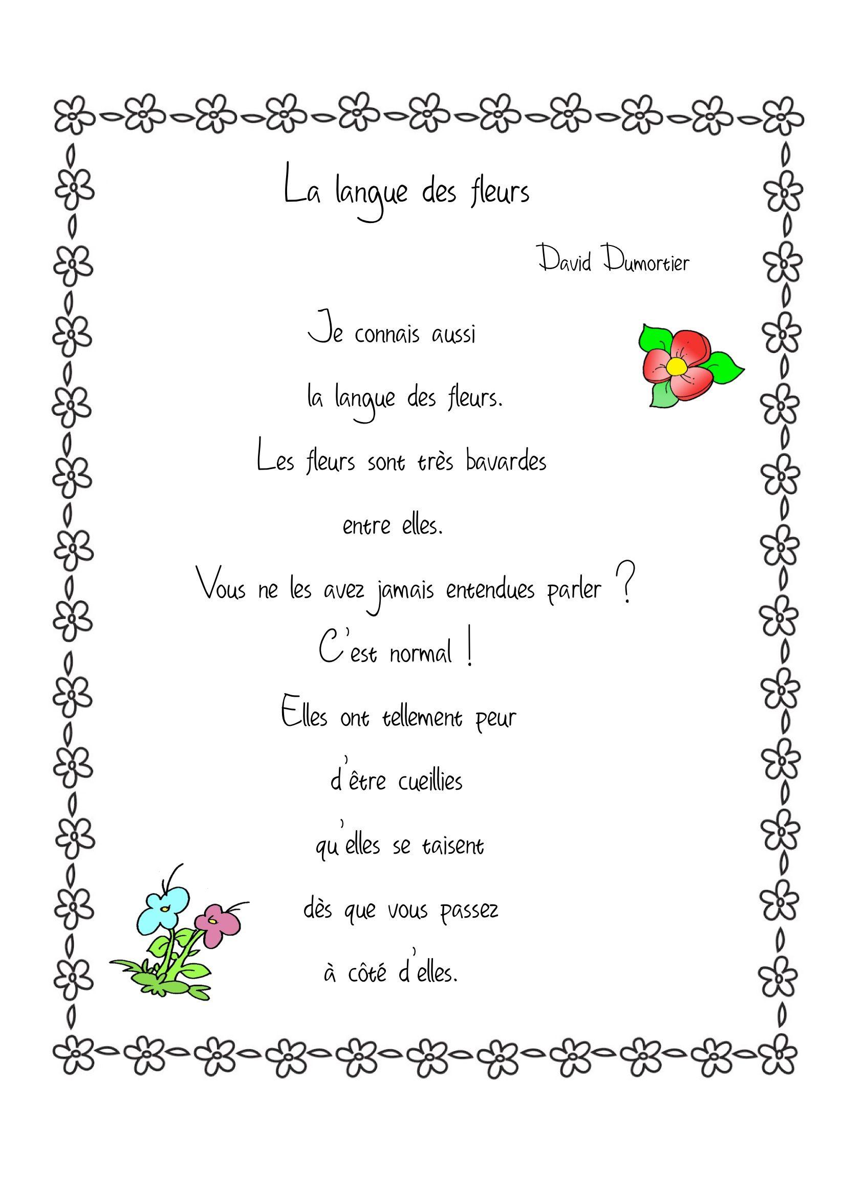 Poésies 2 | Classroom Ideas | Poème Printemps, Poésie serapportantà Ma Main Est Une Fleur