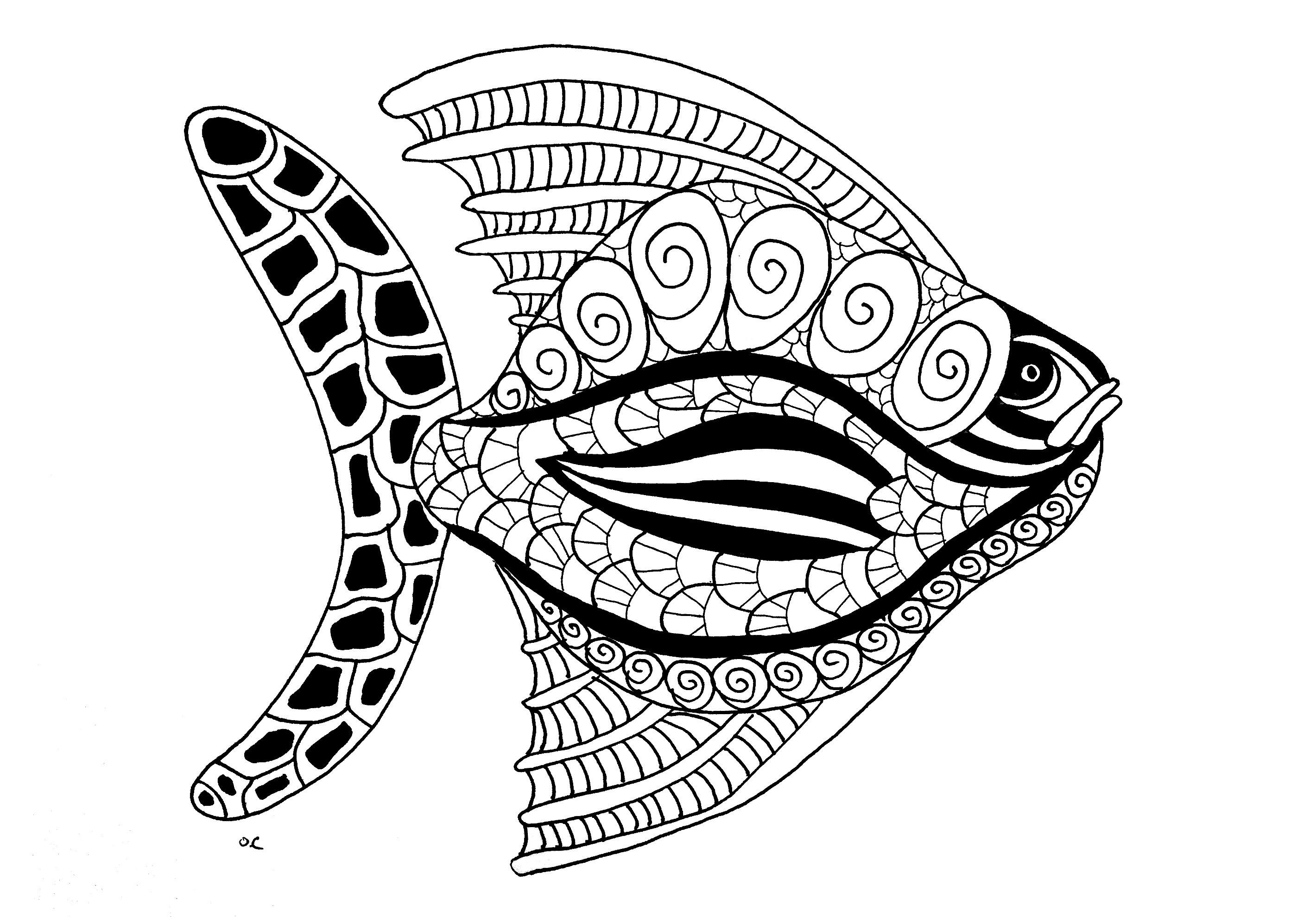 Poisson Zentangle Etape 2 Par Olivier | Blog - Coloriages encequiconcerne Image Poisson A Colorier