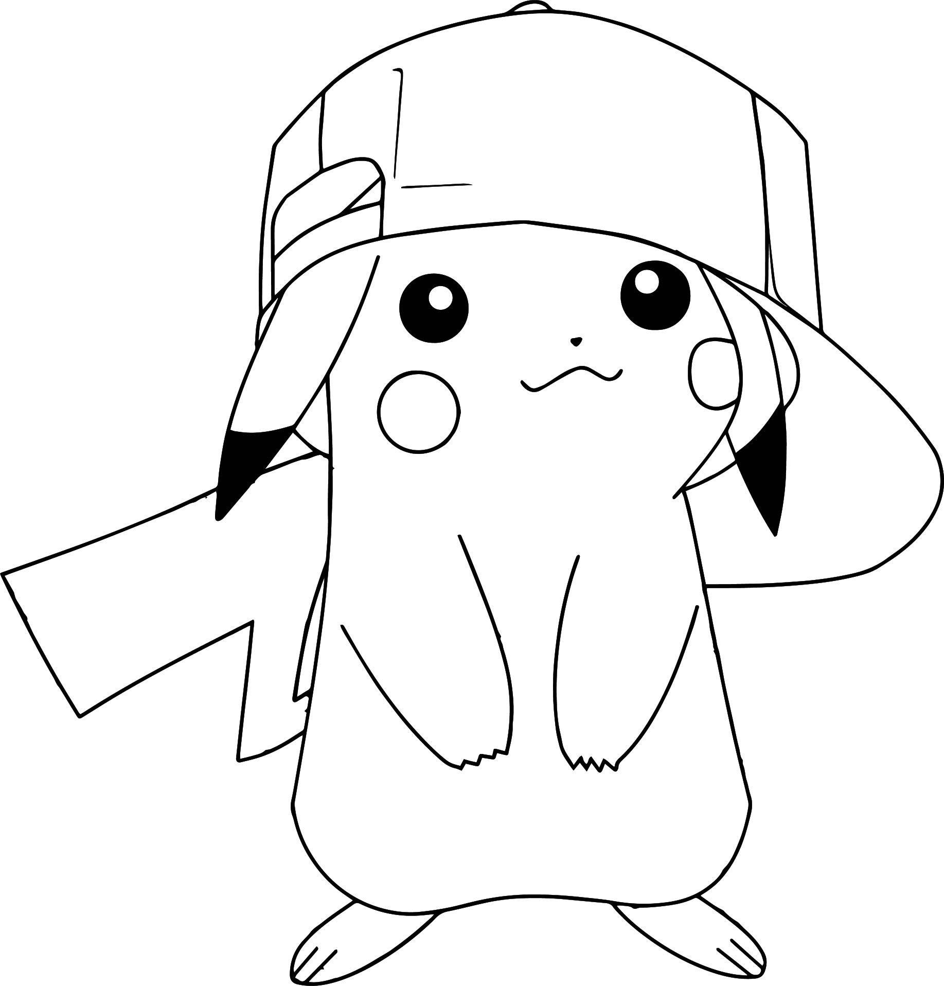 Pokemon Coloring Pages Pikachu Wearing Hat | Pikachu concernant Coloriage Pikachu