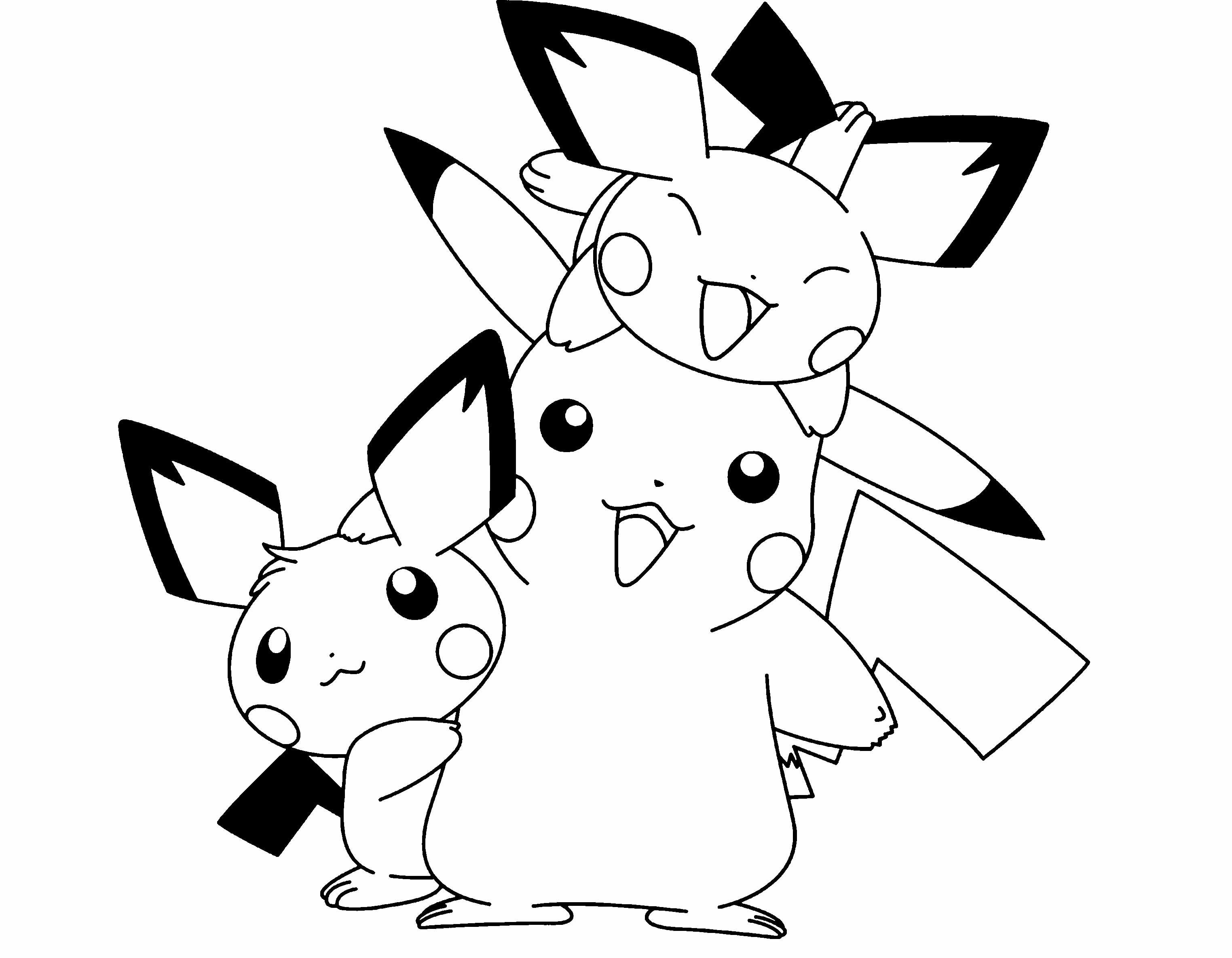 Pokemon Pikachu And Two Friends Are Cute Coloring Page à Coloriage Pikachu