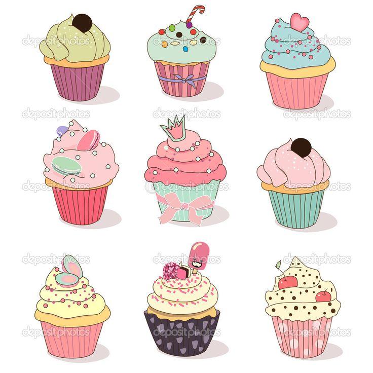 Polymer Clay Cupcake 6 | 귀여운 그림, 그림, 유아 미술 tout Cup Cake Dessin