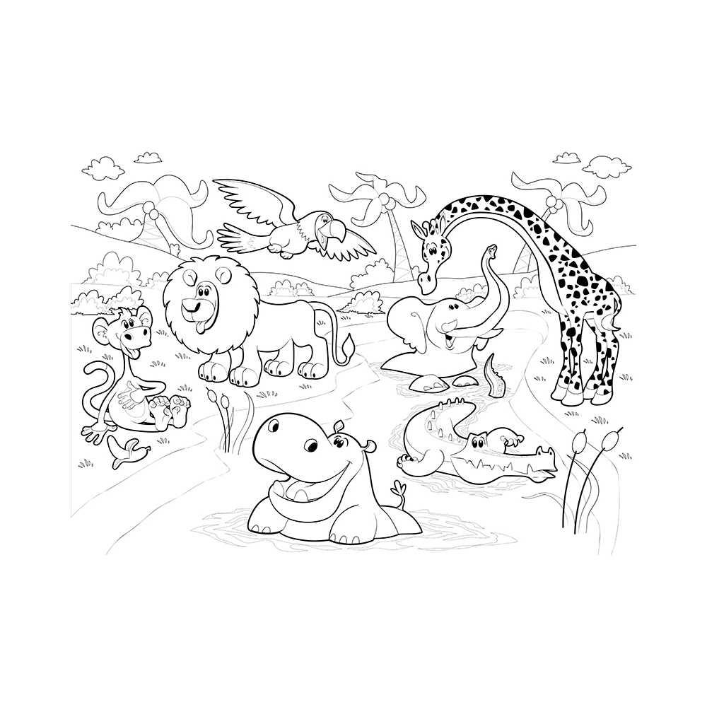 Poster Géant À Colorier Animaux De La Savane : Lion, Croco serapportantà Coloriage Animaux De La Jungle Gratuit