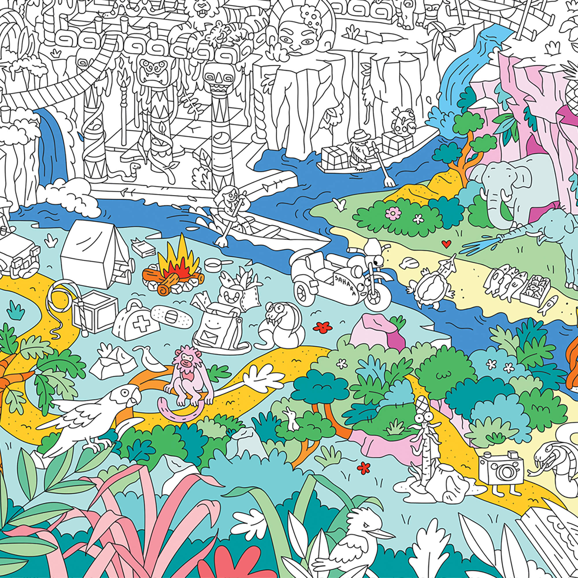 Poster Géant À Colorier Jungle By Omy - La Collection intérieur Omy Coloriage Geant
