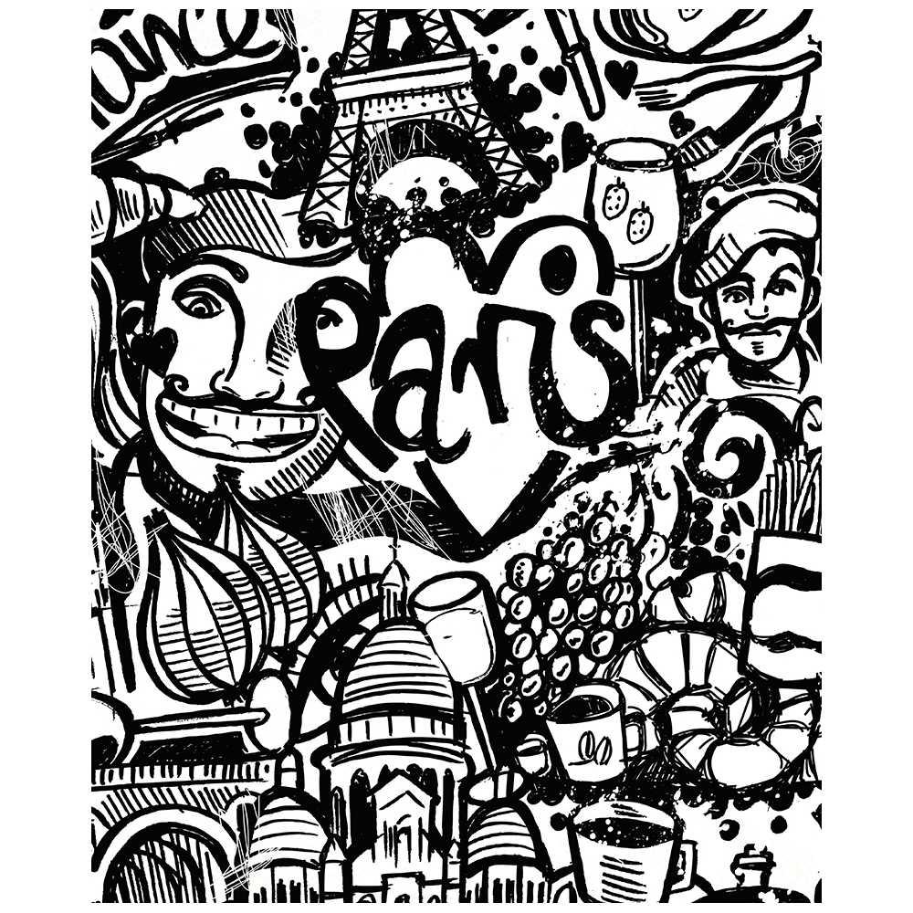 Poster Géant À Colorier Pour Enfant Paris Tag pour Coloriage Tag Graffiti