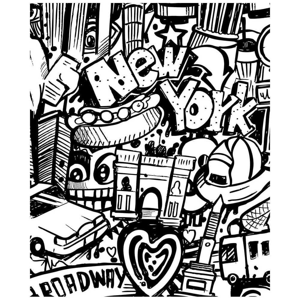 Poster Géant À Colorier Rue De New-York Et Ses Taxis Jaunes intérieur Dessin Tag A Imprimer