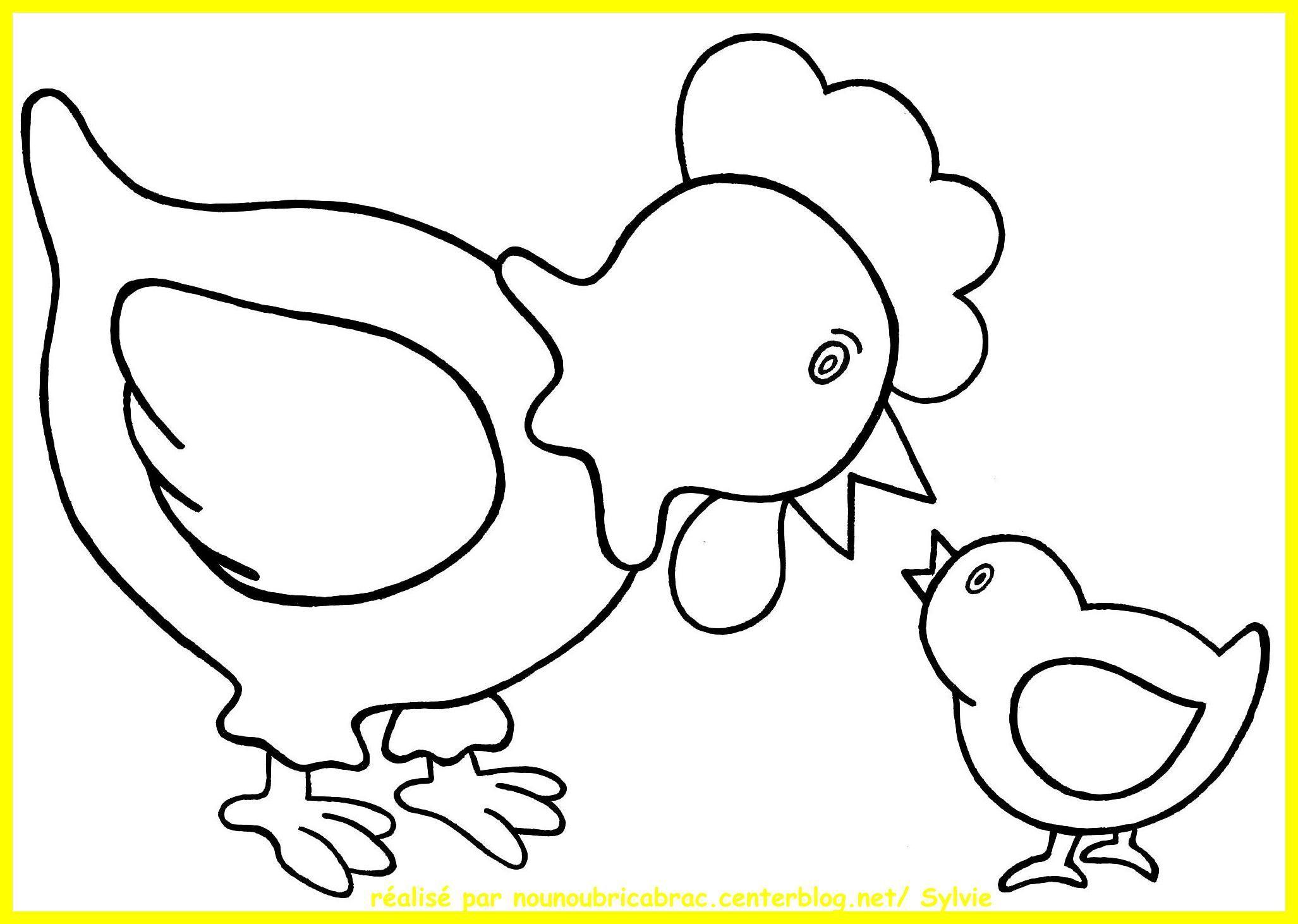 Poule Et Son Poussin À Colorier - Dessins De Pâques tout Poussin En Dessin