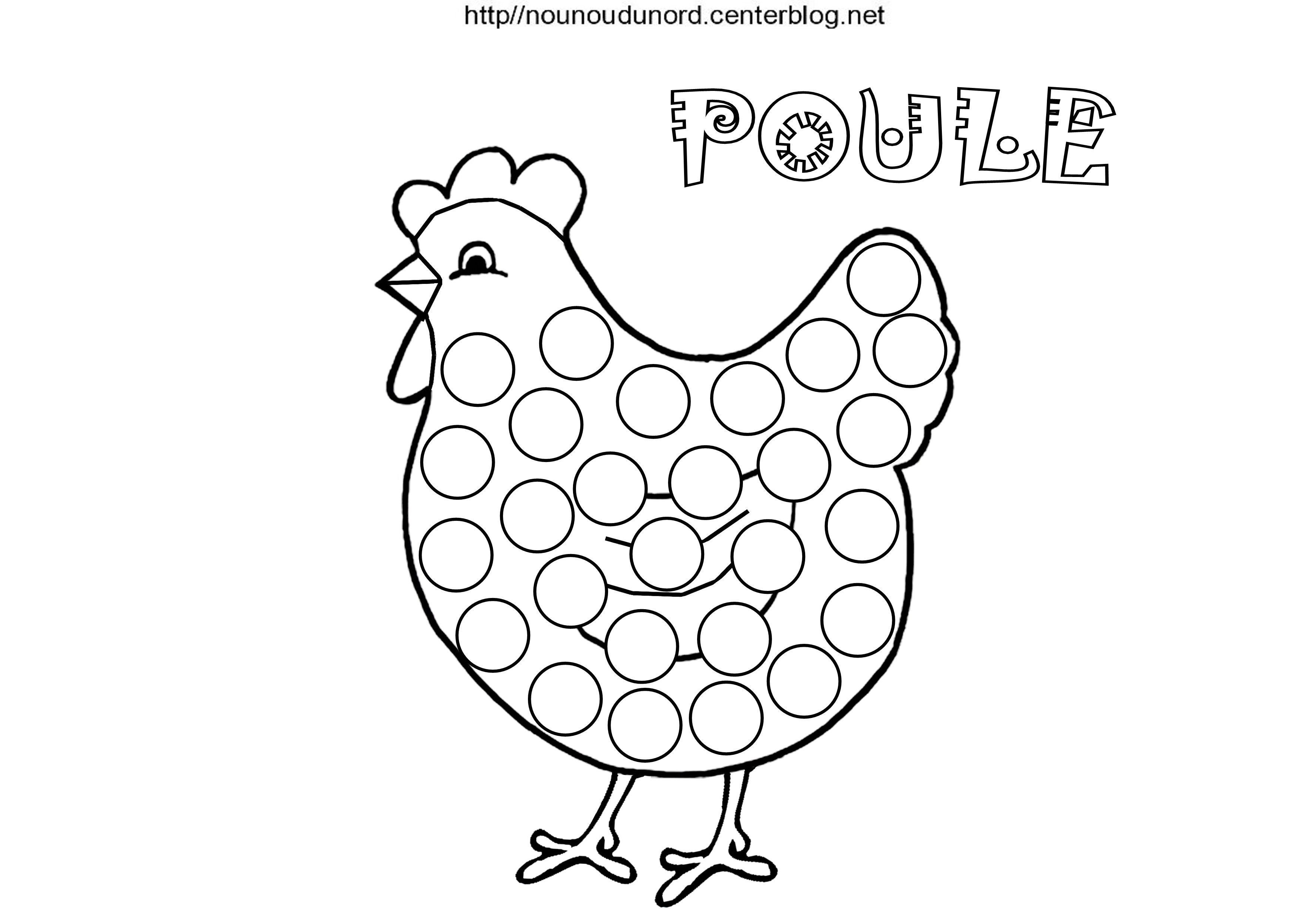 Poules Pour Gommettes À Colorier Et En Couleur. concernant Coloriage Poule De Pâques À Imprimer Gratuit