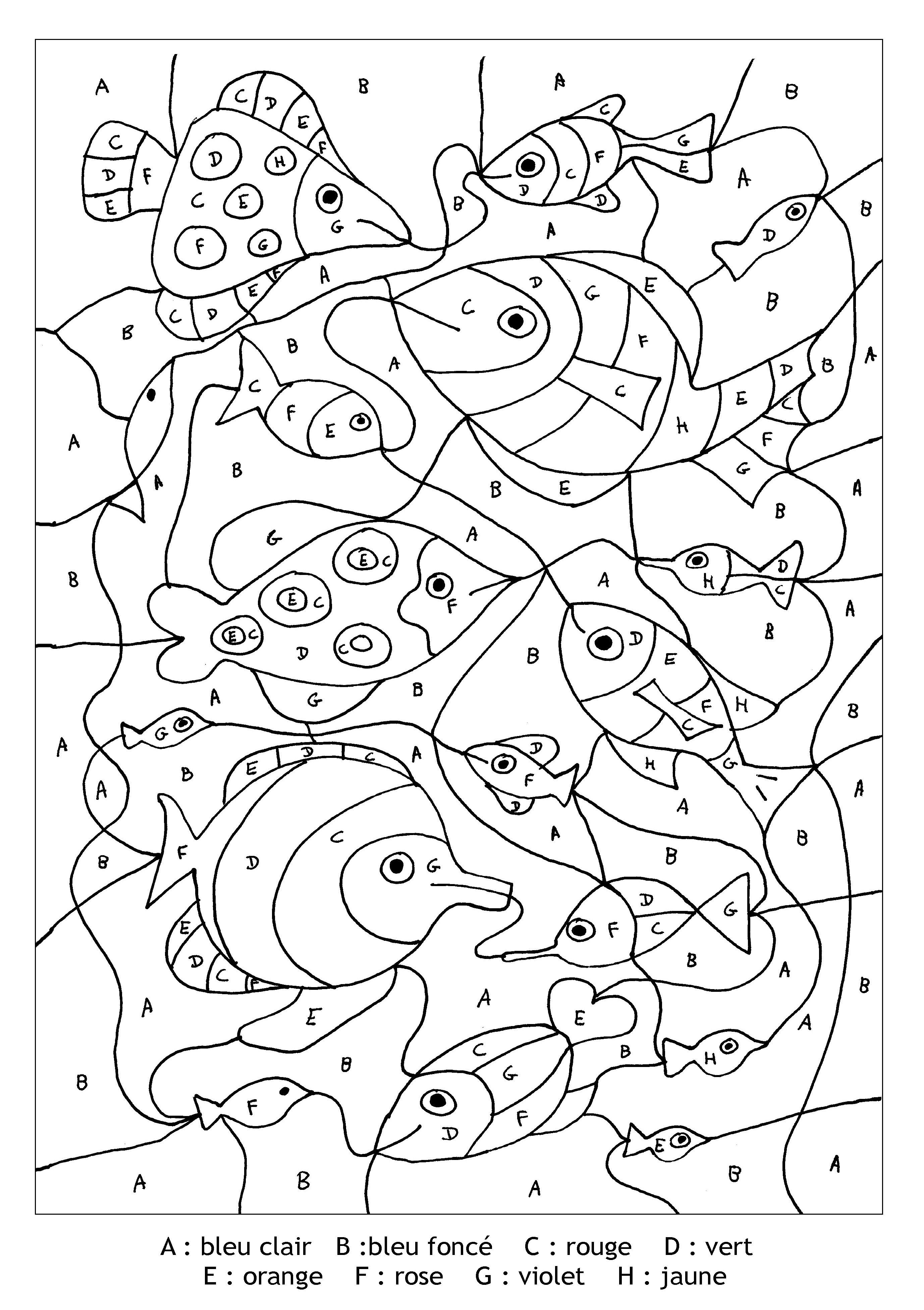 Pour Imprimer Ce Coloriage Gratuit «Coloriage-Magique-Lettres-Poissons», Cliquez Sur L'Icône pour Coloriage Adulte À Imprimer Avec Code Couleur
