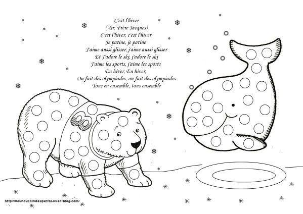 Pour L'Hiver | Animaux Polaires, Oursons Polaires Et Animaux à Coloriage Gommette À Imprimer Gratuitement