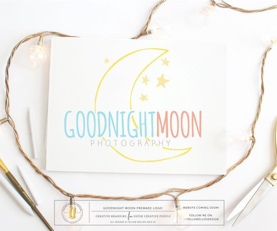 Premade Logo Moon And Stars Logo Par Yellowwelliesdesigns pour Au Clair De La Lune Text