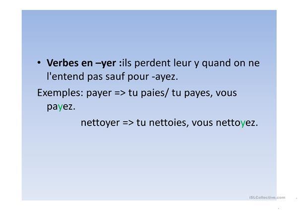 Présent De L'Indicatif - Français Fle Powerpoints concernant Pr?Sent De L'Indicatif